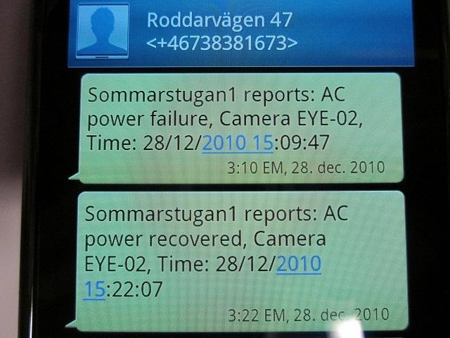 Bild - SMS Larm strömavbrott och strömmens återkomst